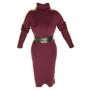 Gorgeous Long Knitted Dress in Deep Plum Color - M